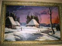 tablou peisaj de iarna,pictura ulei pe panza,sec.19