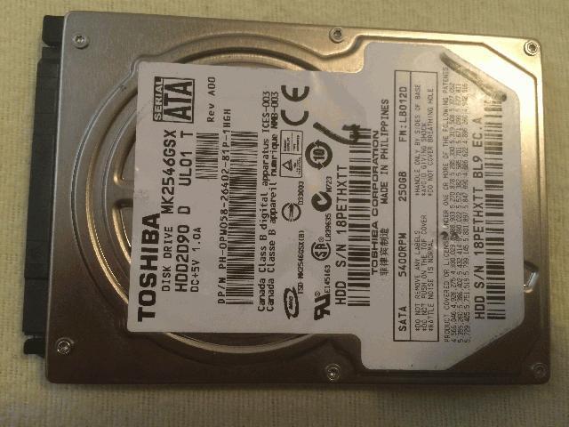 Hard disk laptop 250 Gb Toshiba