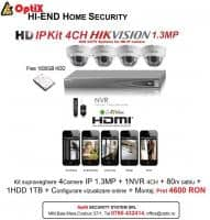 Kit supraveghere 4CAMERE IP HD HIKVISION 1.3MP + 1NVR 4CH + 1HDD 1TB + 80M Cablu + Config vizualizare online + Montaj