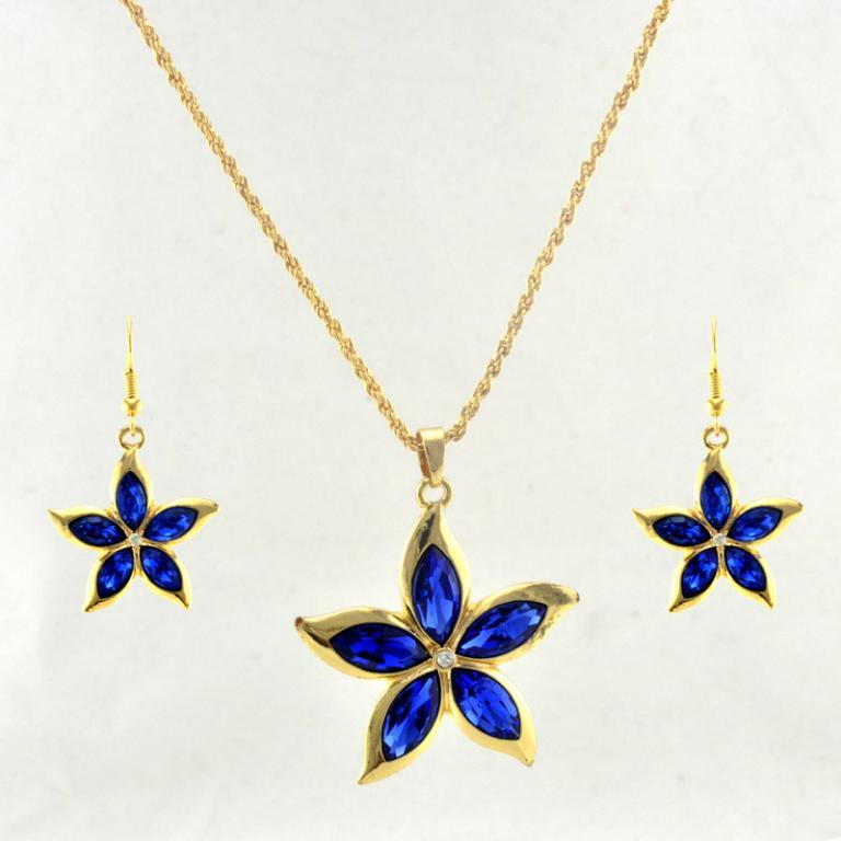 Set floare cristale albastre placat aur 18k