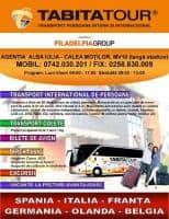 Transport colete si plicuri Alba Iulia - Spania / Italia / Franta (tur/retur) TABITA TOUR