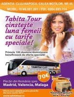 Oferta Tabita Tour- Transport persoane din BISTRITA catre SPANIA -70 euro(Madrid, Malaga, Valencia)