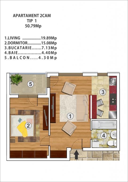 Apartament 2  camere 50 mp Rahova