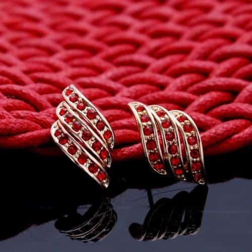 Cercei cristale rosi placati aur 18k
