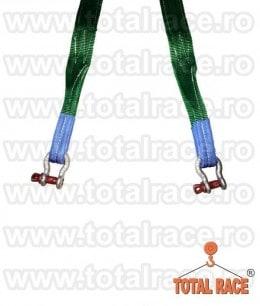 Sistem de ridicare din chingi cu 2 brate cu carlige rotative