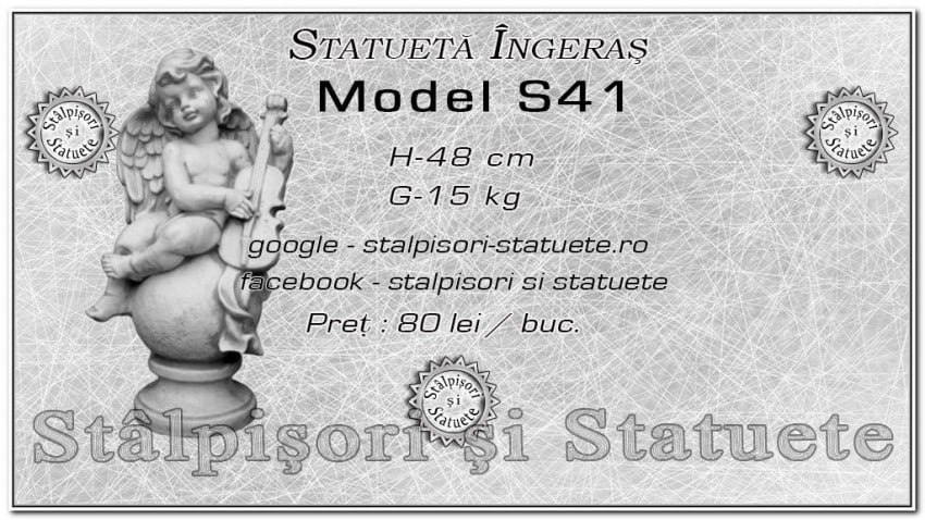 Statueta ingeras cu violoncel din beton model S41.