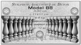 Stalpisori, balustri, din beton, model B8.