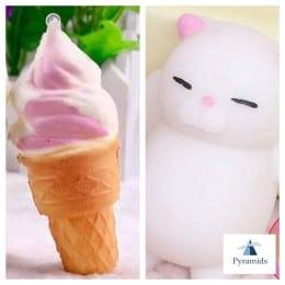 Pachetul: Squichy Cat (Pisica) si Kawaii Squishies IceCream (Ingheata)