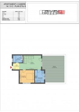 2 camere + terasa 34.90 mp