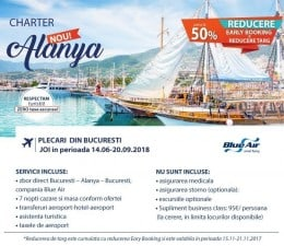 NOU 2018 !!! Charter Bucuresti - Alanya, zbor direct