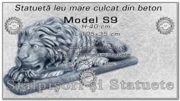 Statueta leu mare culcat din beton model S9.