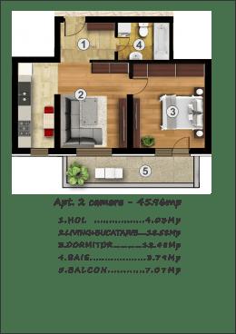 2 camere, cu parcare gratuita, pretabil Prima Casa, sau investitie