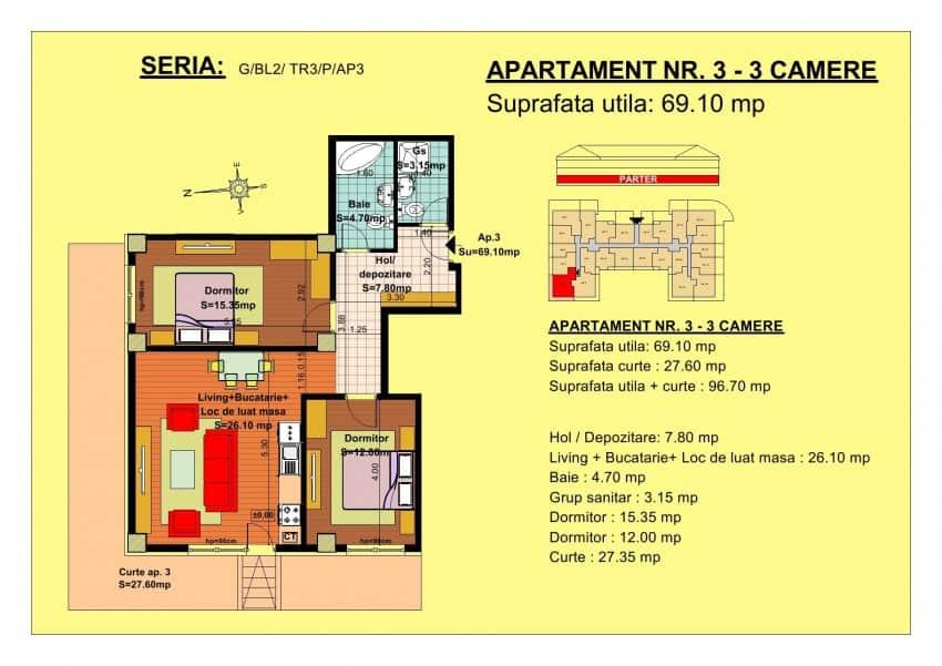 apartament 3 camere parter
