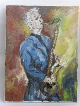 Saxofonul-pictura ulei pe panza,Macedon Luiza