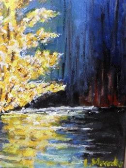 Lumina in noapte-pictura ulei pe panza,Macedon Luiza