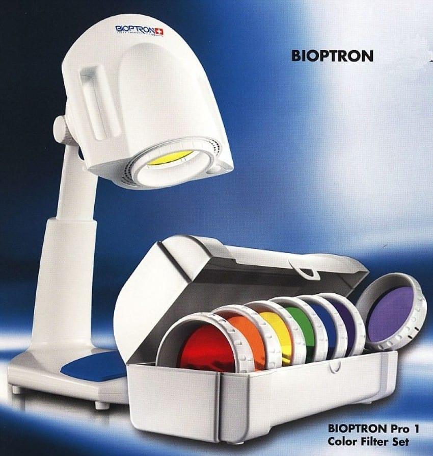 Bioptron Pro 1 cu suport de masa, set 7 lentile color therapy, oxy spray, oferta pret redus 50 % !
