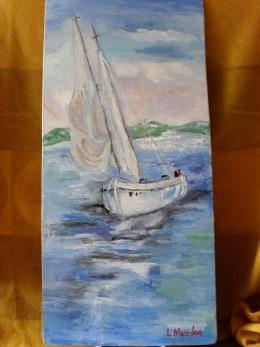 Marina 1-pictura ulei pe placaj,Macedon Luiza
