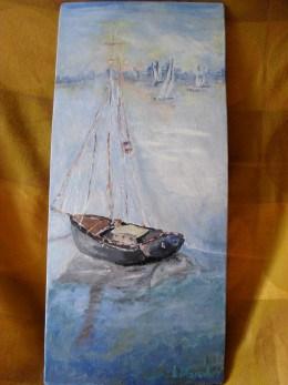 Marina 3-pictura ulei pe placaj,Macedon Luiza
