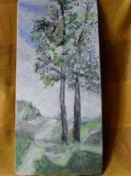 Drumul spre casa 1-pictura ulei pe placaj,Macedon Luiza