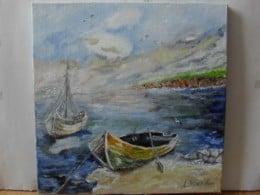 Marina 4-pictura ulei pe panza,Macedon Luiza