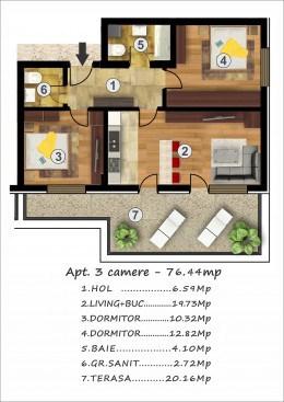 Rahova-vand ap.3 camere, terasa 20 mp, pret 63900 euro