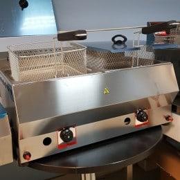 Friteuza inox gaz 2x11 Litri de banc noua