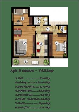 Ap.3 camere, 74 mp,Noul Confort Urban Rahova
