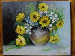 Vas  cu flori--pictura ulei pe panza,Macedon Luiza